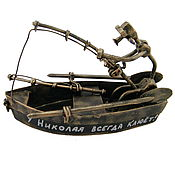 Сувениры и подарки handmade. Livemaster - original item Gifts for hunters and fishermen: A fisherman in a boat. Handmade.