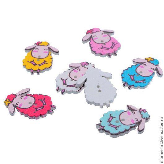 Шитье ручной работы. Ярмарка Мастеров - ручная работа. Купить Деревянные пуговицы Милые овцы для декора, шитья и скрапбукинга. Handmade.