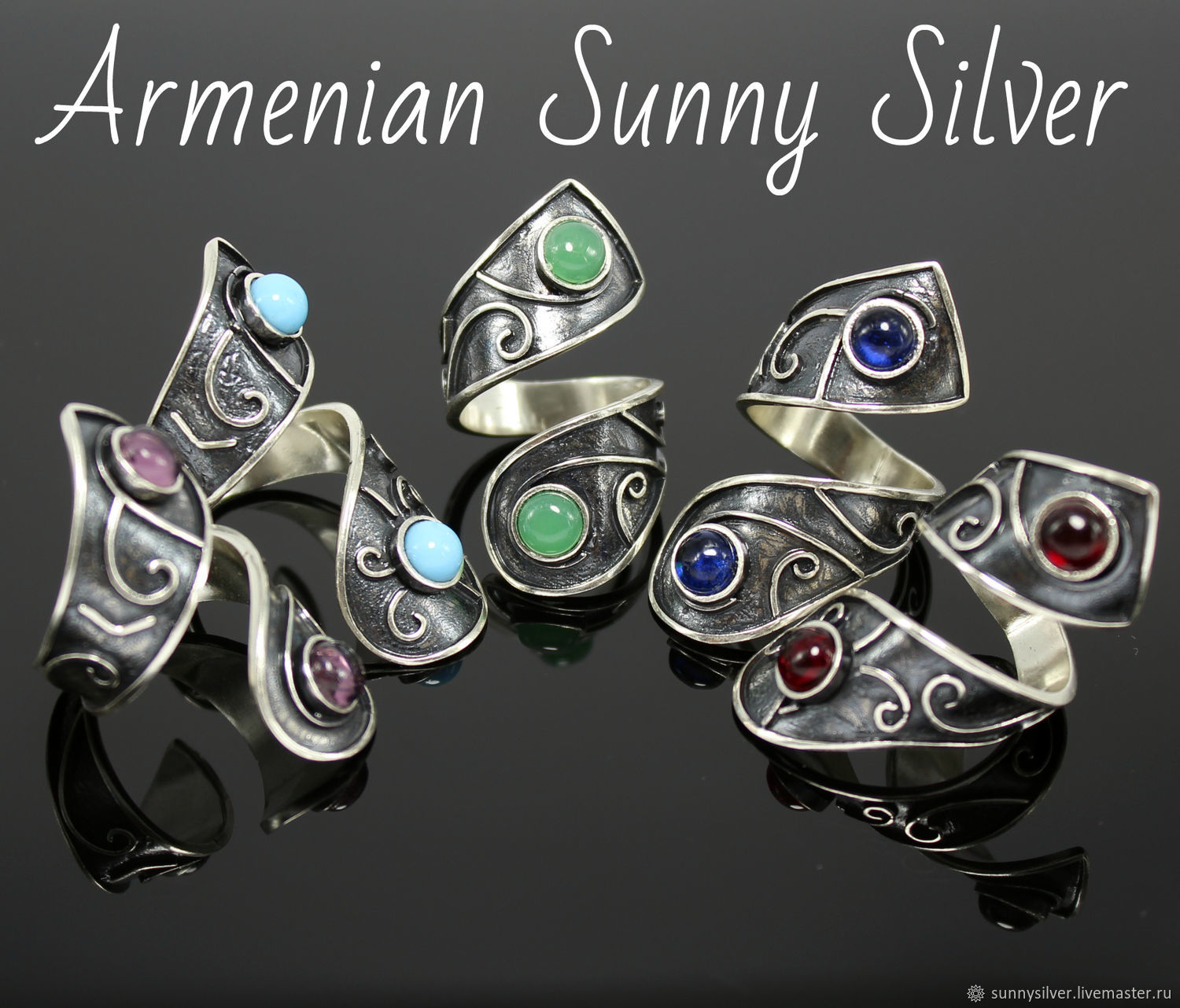 SIMA spiral ring made of 925 sterling silver with stones (VIDEO), Rings, Yerevan,  Фото №1