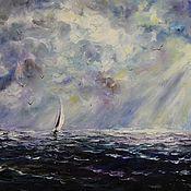 Картины и панно ручной работы. Ярмарка Мастеров - ручная работа Картина маслом - фиолетовое море. Handmade.