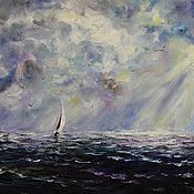 Картины и панно handmade. Livemaster - original item Oil painting - purple sea. Handmade.