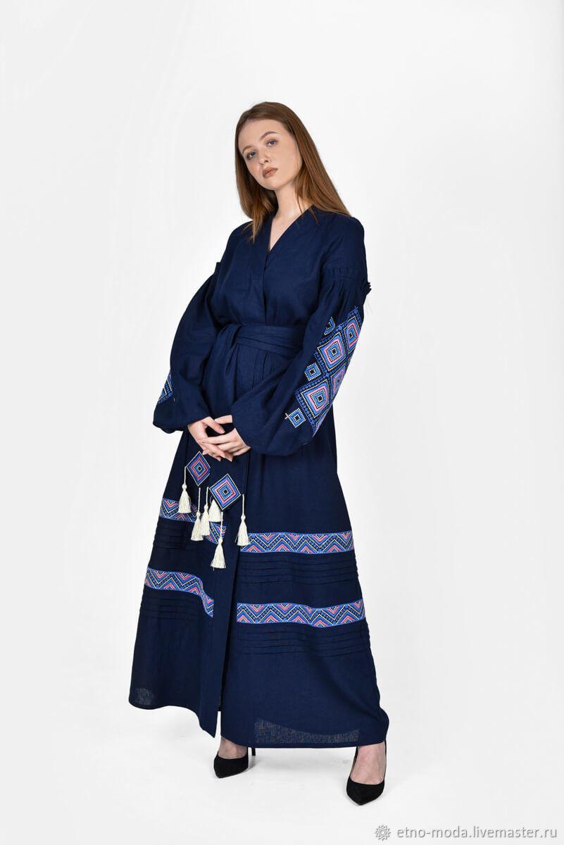 """Платье вышиванка """"Созвездие"""" темно-синяя, Народные платья, Чернигов,  Фото №1"""