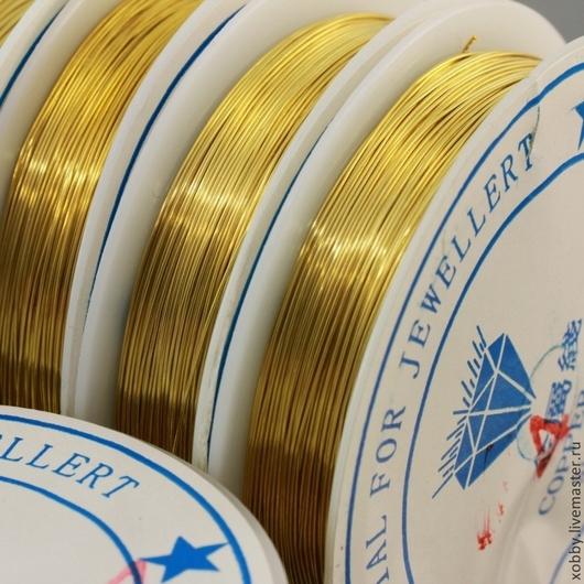 Проволока | wire диаметром 0,4 мм для создания украшений на катушке по 10 метров с покрытием под золото