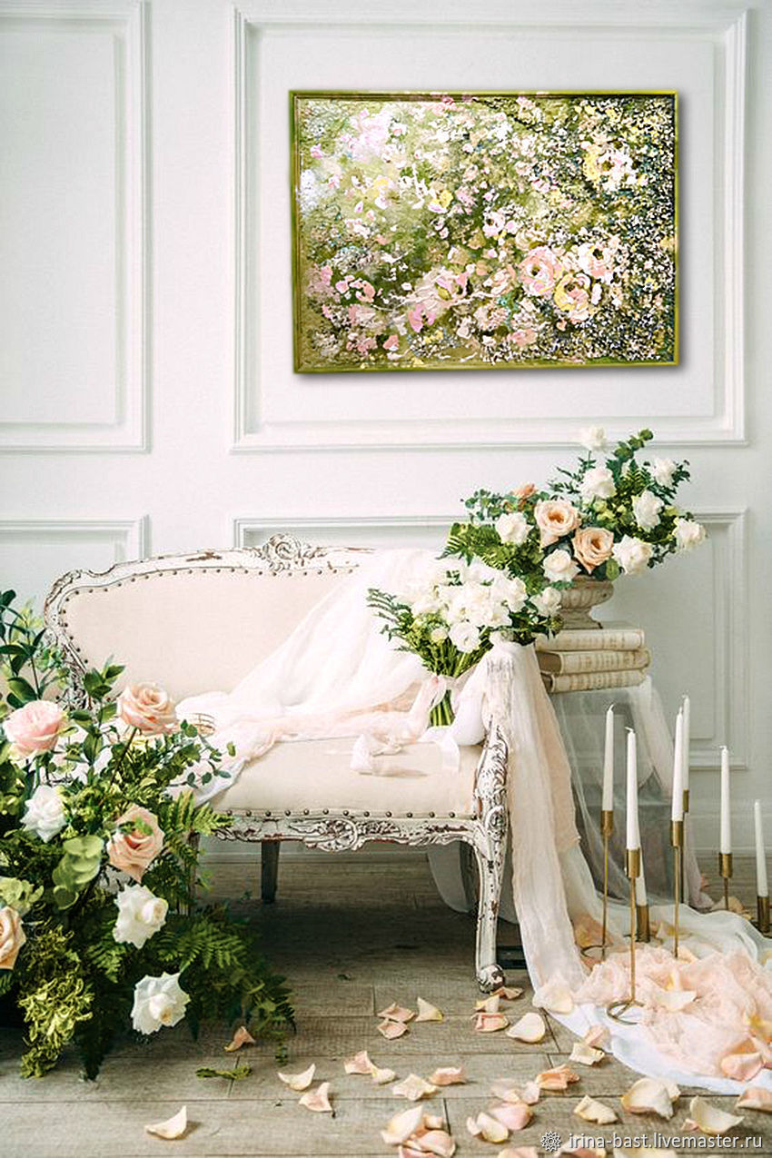 The painting with the colors of a Blooming garden, green cream interior painting, Pictures, St. Petersburg,  Фото №1