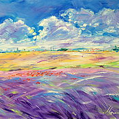 handmade. Livemaster - original item Oil painting on canvas Fields of Provence. Lavender. Provence. Handmade.