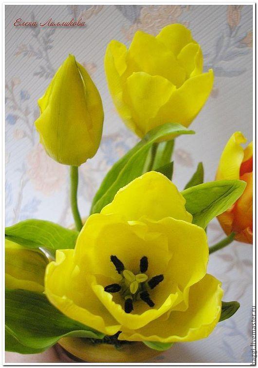 Цветы ручной работы. Ярмарка Мастеров - ручная работа. Купить Цветы из полимерной глины Желтые тюльпаны.. Handmade. Холодный фарфор