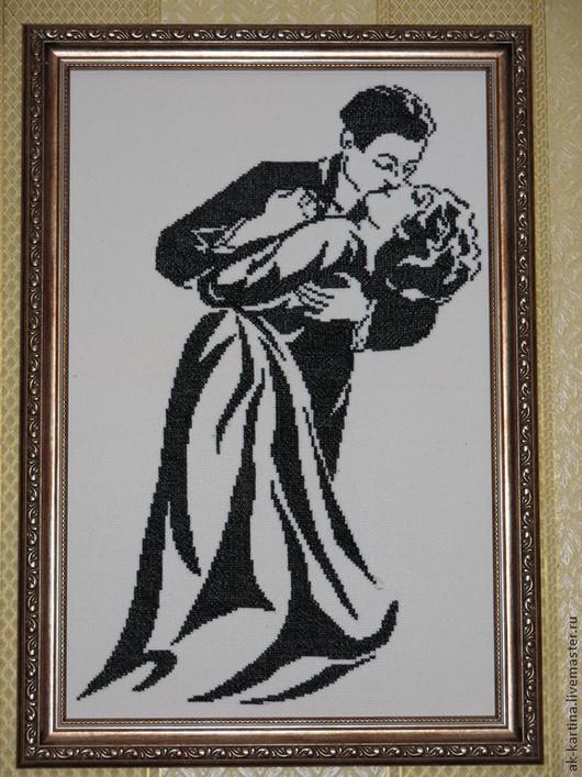 """Люди, ручной работы. Ярмарка Мастеров - ручная работа. Купить """"Поцелуй"""" Вышивка крестом. Handmade. Чёрно-белый, багетная рама"""
