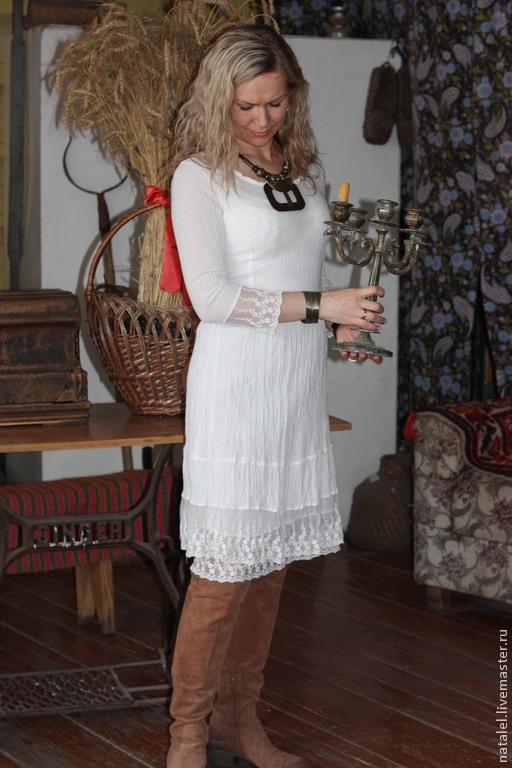 """Платья ручной работы. Ярмарка Мастеров - ручная работа. Купить Платье белое с кружевом """"Шепот ветра"""". Handmade. Винтаж, оборки"""
