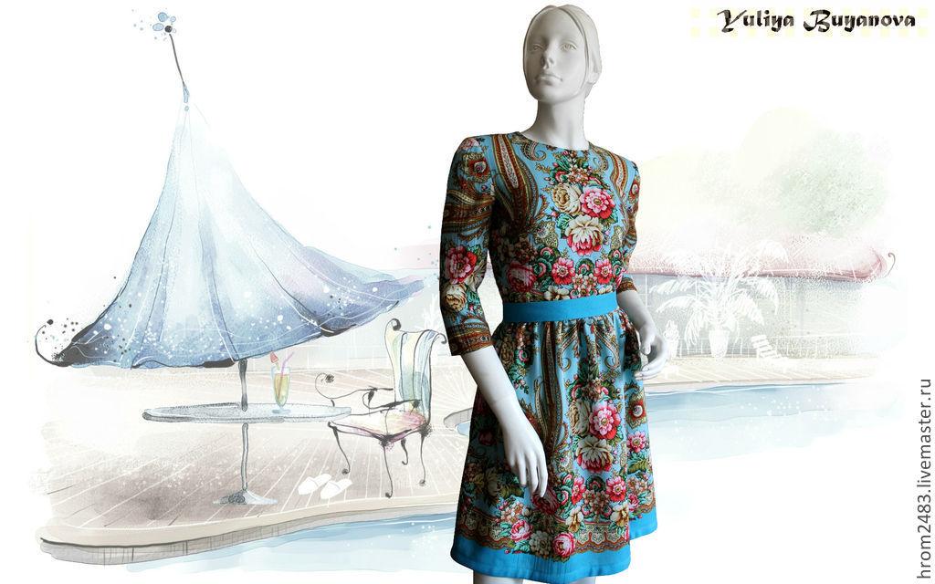 Dress 'Birthday girl' from Pavlovoposadskaja scarf, Dresses, Moscow,  Фото №1