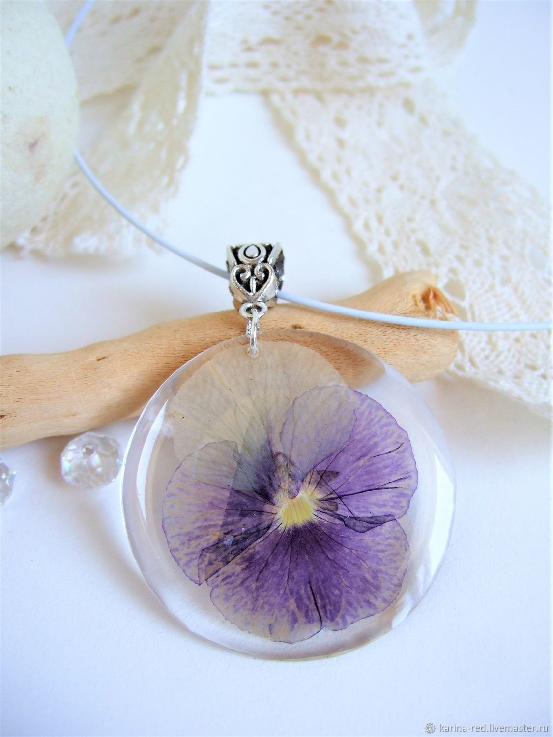 Transparent Pendant with Real Flower Violet Pansy Botany Eco, Pendants, Taganrog,  Фото №1