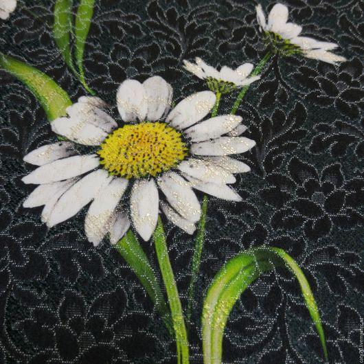 """Шитье ручной работы. Ярмарка Мастеров - ручная работа. Купить Жаккардовая ткань """"Ромашки"""", линия D&G. Handmade. Черный, цветы"""