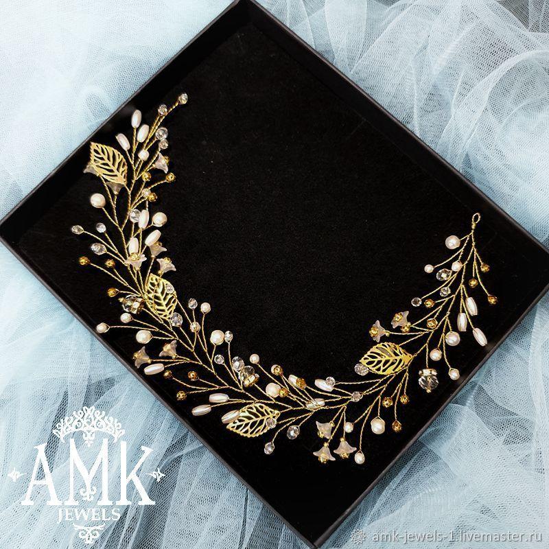 Gold Bridal Hair Vine, Wedding hair wreath, golden hair vine, Украшения в прическу, Раменское,  Фото №1