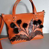 Сумки и аксессуары handmade. Livemaster - original item Women`s leather bag with fur applique. Red Thistle. Handmade.