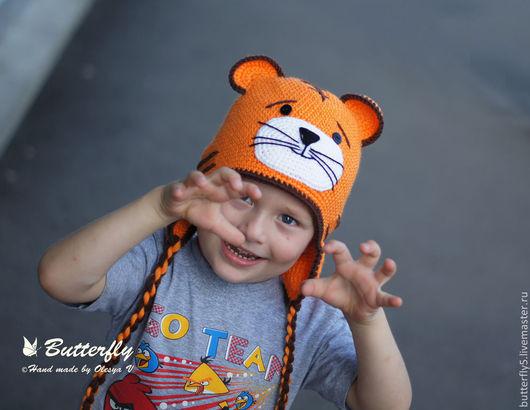 Шапки и шарфы ручной работы. Ярмарка Мастеров - ручная работа. Купить Шапка Тигренок, Тигр. Handmade. Оранжевый, тигренок