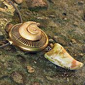 Колье с подвеской кольцо Ракушка из полимерной глины коричневый