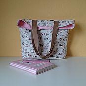 Сумки и аксессуары handmade. Livemaster - original item White Thick Textile Shopping Bag Shopper Bag with Cats. Handmade.