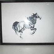 Картины и панно ручной работы. Ярмарка Мастеров - ручная работа картина лошадь Карьера суми-е. Handmade.
