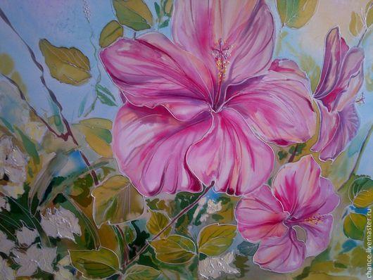 """Картины цветов ручной работы. Ярмарка Мастеров - ручная работа. Купить Панно """"Гибискусы"""". Handmade. Розовый, цветы"""