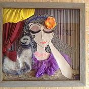 Картины и панно ручной работы. Ярмарка Мастеров - ручная работа Картина Женщина с Кошкой. Handmade.