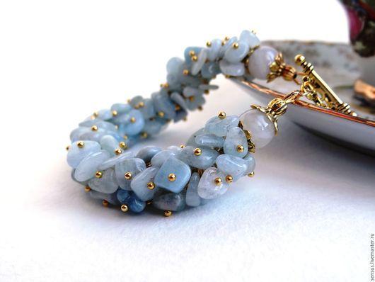 браслет из камней, аквамарин, серьги из камней, голубой браслет, голубые серьги, купить браслет, купить комплект украшений