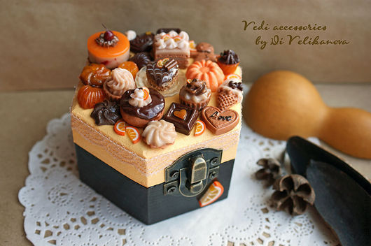 """Шкатулки ручной работы. Ярмарка Мастеров - ручная работа. Купить Шкатулка """"Апельсин и Горький Шоколад"""". Handmade. Оранжевый, еда из пластики"""