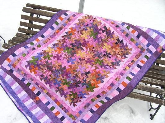"""Текстиль, ковры ручной работы. Ярмарка Мастеров - ручная работа. Купить Одеяло """"Палитра сирени"""". Handmade. Сиреневый, покрывало на кровать"""