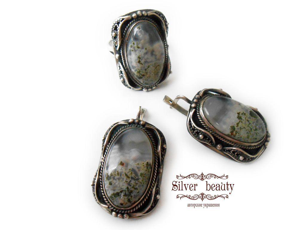 серебряные украшения с камнями фото