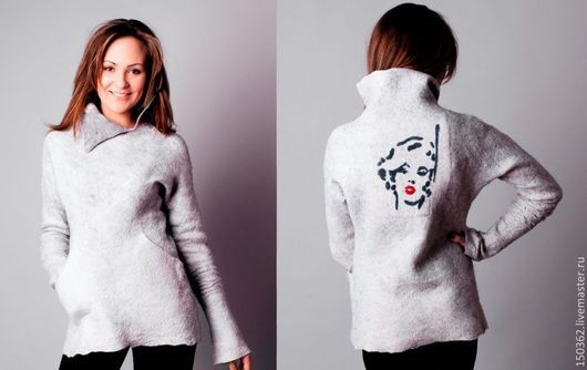 Кофты и свитера ручной работы. Ярмарка Мастеров - ручная работа. Купить шерстяная туника ручной работы Marilyn. Handmade. Серый