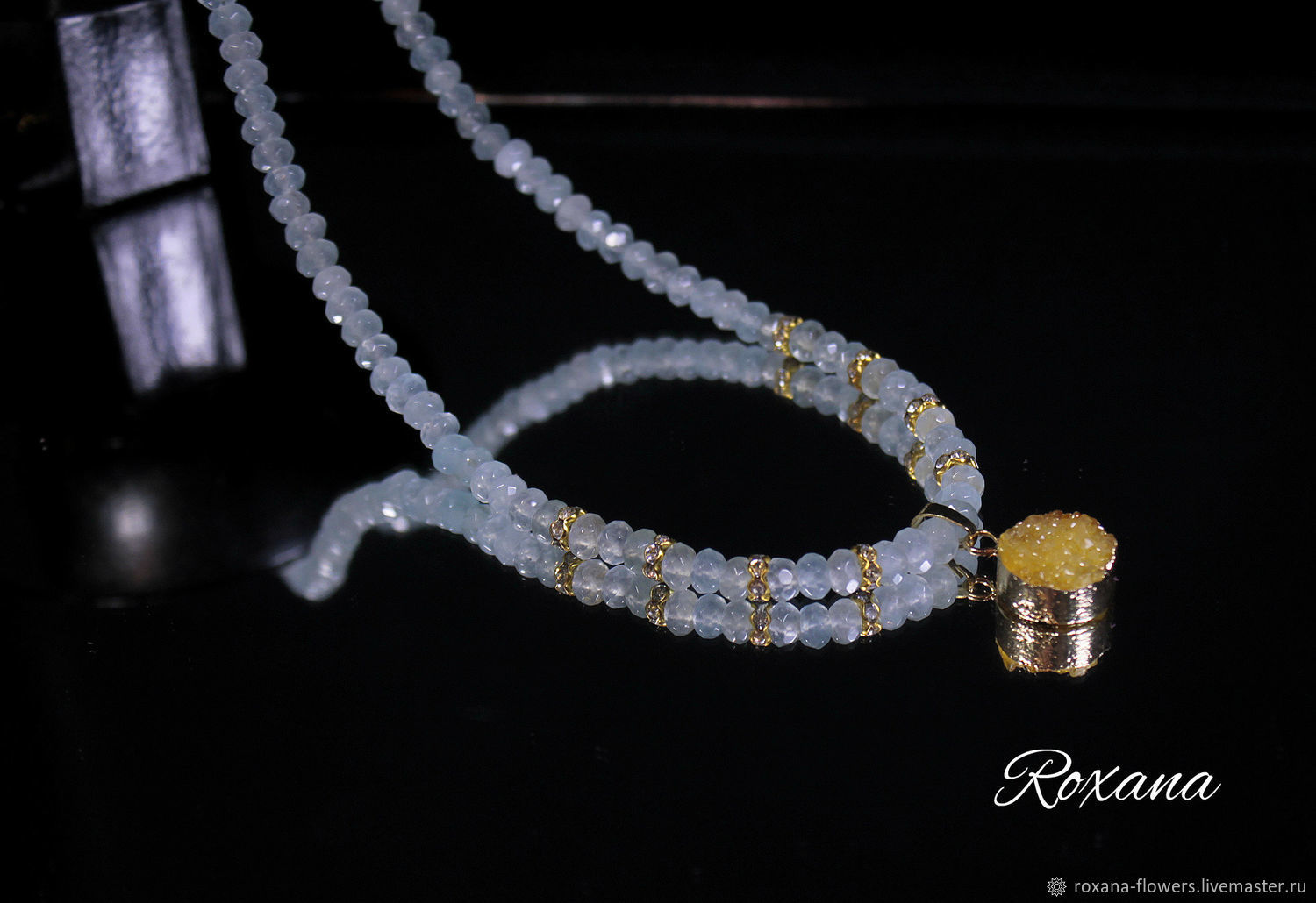 Sunny Beach A Necklace With Pendant Druse Quartz And