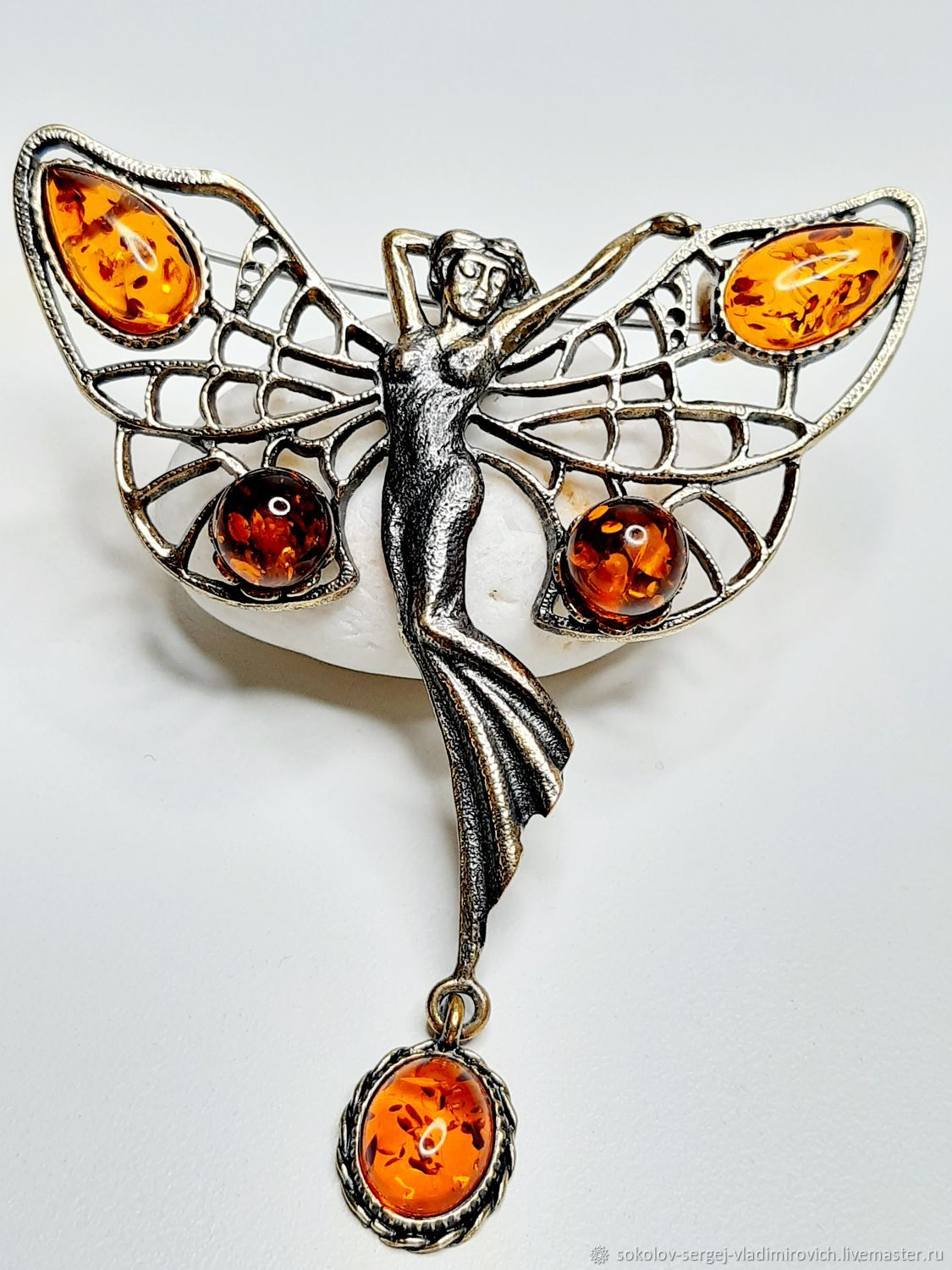 Butterfly brooch dancing-fairy with cabochon, Brooches, Moscow,  Фото №1