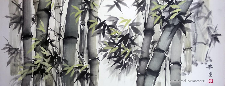 Пейзаж ручной работы. Ярмарка Мастеров - ручная работа. Купить Бамбуковую рощу. Handmade. Пейзаж, картина тушью, японская живопись