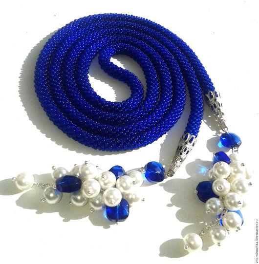 Украшение, синий лариат из бисера, лариат, лариат купить, лариат из бисера, синий лариат, синий