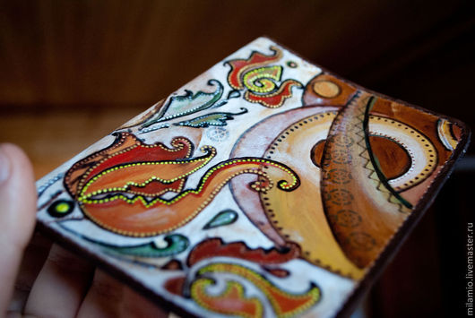 """Обложки ручной работы. Ярмарка Мастеров - ручная работа. Купить Обложка для паспорта кожаная """"Осень"""". Handmade. Узор, обложка кожаная"""