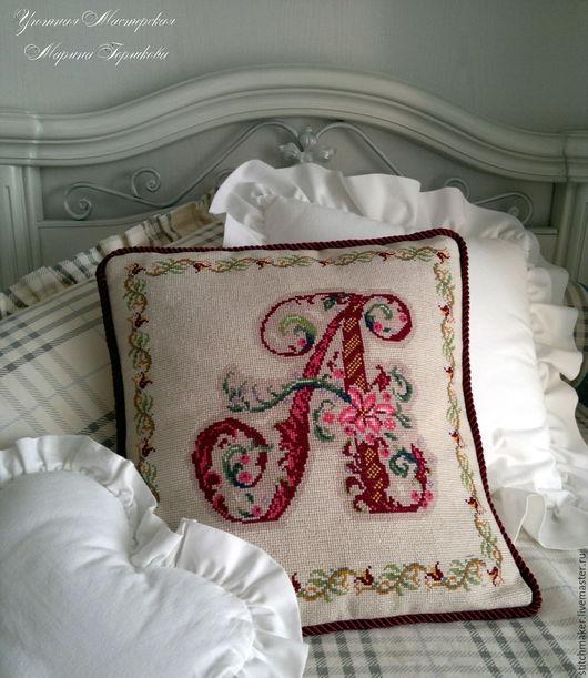 """Текстиль, ковры ручной работы. Ярмарка Мастеров - ручная работа. Купить Подушка вышитая именная """"А"""". Handmade. Разноцветный, для интерьера"""