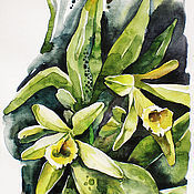 Pictures handmade. Livemaster - original item Watercolor Orchid. Handmade.