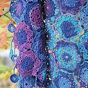 Аксессуары handmade. Livemaster - original item Summer openwork shawl scarf Blue gossamer. Handmade.