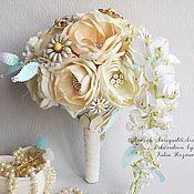Свадебный салон handmade. Livemaster - original item Brooch bouquet with daisies. Handmade.