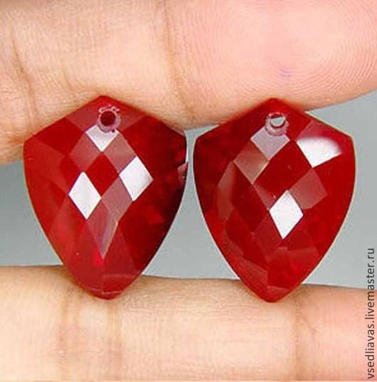 Для украшений ручной работы. Ярмарка Мастеров - ручная работа. Купить пара красных кварцев(лаб) 45.9 карат. Handmade.