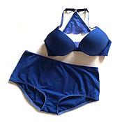 Одежда handmade. Livemaster - original item Set of underwear made of cotton and lace cornflower Blue. Handmade.