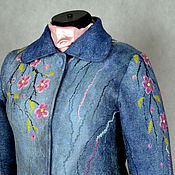 "Одежда ручной работы. Ярмарка Мастеров - ручная работа куртка валяная ""Сакура над водой"". Handmade."