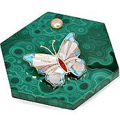 Украшения handmade. Livemaster - original item Pendant butterfly. Pendant with turquoise, pearl, coral. Handmade.