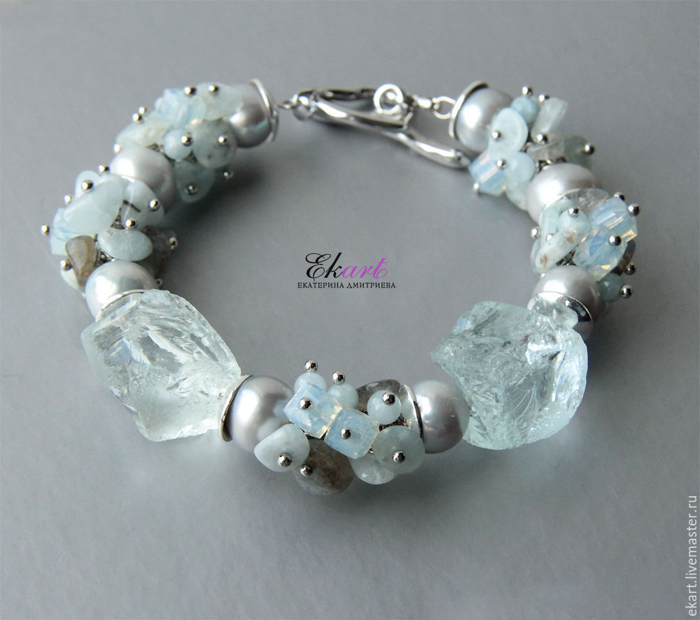 Bracelet of pearls and stones 'Flowers of the metropolis', Bead bracelet, Moscow,  Фото №1