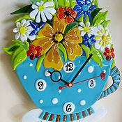 """Для дома и интерьера ручной работы. Ярмарка Мастеров - ручная работа Часы фьюзинг с маятником """"Цветочный чай"""". Handmade."""