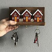 Для дома и интерьера handmade. Livemaster - original item Wooden key holder with little houses. Handmade.