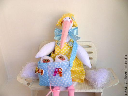Куклы Тильды ручной работы. Ярмарка Мастеров - ручная работа. Купить Аист с младенцем, двойняшками,тильда.. Handmade. Голубой, тильда