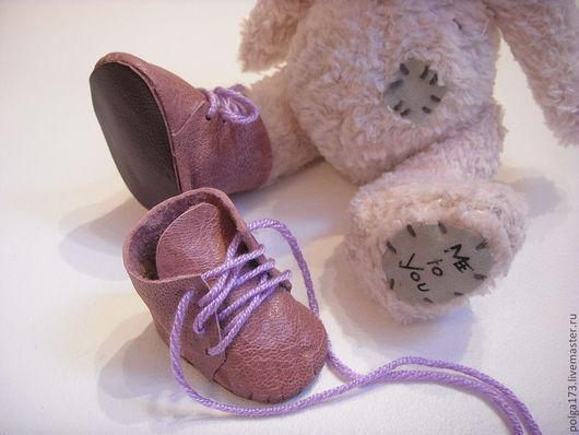 Одежда для кукол ручной работы. Ярмарка Мастеров - ручная работа. Купить Ботинки для мишек Тедди. Handmade. Брусничный, кожа натуральная