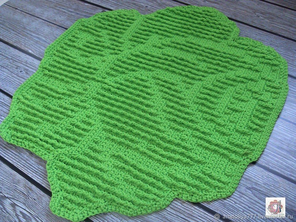 Mat knitted from cord relief warm rose, Carpets, Kabardinka,  Фото №1