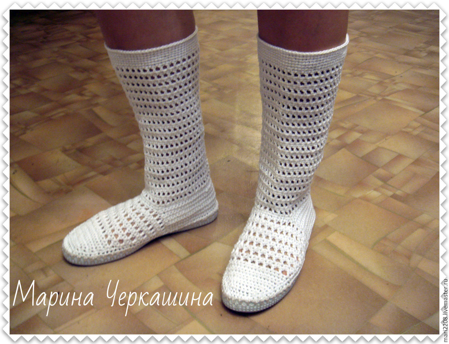 Knitted shoes. Knitted boots 'Summer', High Boots, Irkutsk,  Фото №1