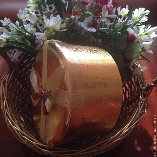 Подарочная упаковка ручной работы. Ярмарка Мастеров - ручная работа. Купить Коробка подарочная круглая Gold. Handmade. Подарочная коробка