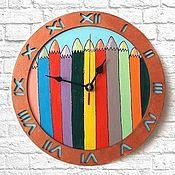 Для дома и интерьера handmade. Livemaster - original item Clock wall Pencils, Handmade clock. Handmade.